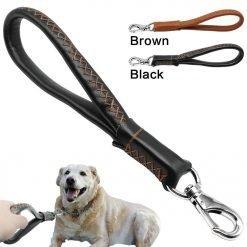 Leather Short Dog Leash for Large Dogs-knewpets